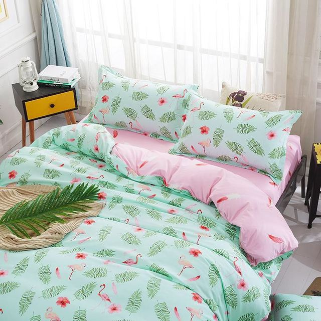 1set Fashion Pink Flamingo Green Leaves Printed Bedding Sets Bedclothes  Duvet Cover Linens Pillowcases Bed Sheets