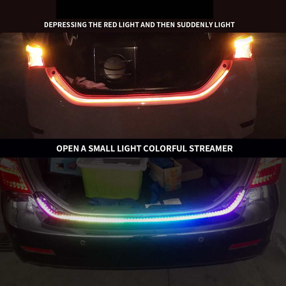 US $17 67 7% OFF|AutoEC 1x RGB Truck Tailgate Tail Light Bar Strip LEDS Car  styling dynamic blinker turn signal Luggage Compartment Lights #LQ674-in
