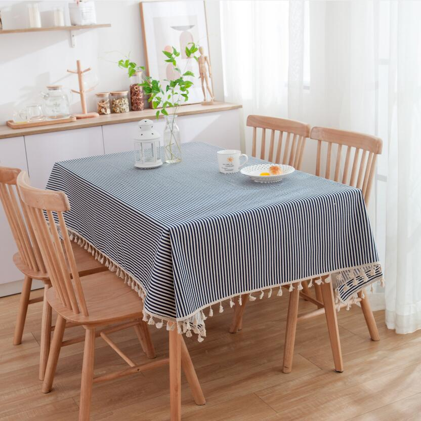 Home Textile Rapture Modern Simple Red Blue Stripe Tea Table Cloth Rectangular Square Striped Tablecloth With Tassel Plaid Table Cover Mantel Zc051 Tablecloths