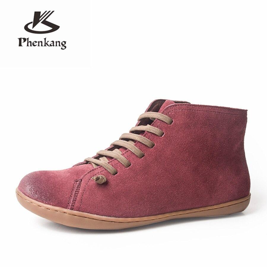 Genuíno camurça de couro de vaca casuais tornozelo mulheres Botas de inverno de qualidade Confortável macio handmade Sapatos baixos com pele cinza preto vermelho
