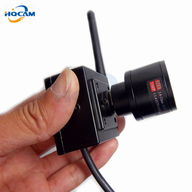 HQCAM 1080P 2.0MP wireless mini IP Camera ONVIF 2.0 2.8-12mm manual varifocal zoom lens P2P Plug and Play With bracket hot sale audio mini ip camera 720p onvif 2 0 2 8 12mm manual varifocal zoom lens p2p plug and play with bracket security camera