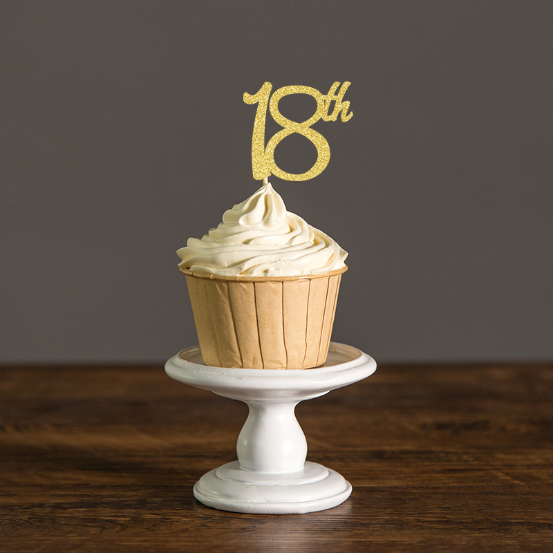 18th Birthday Cupcake Toppers Silver Black & Gold Glitter ...