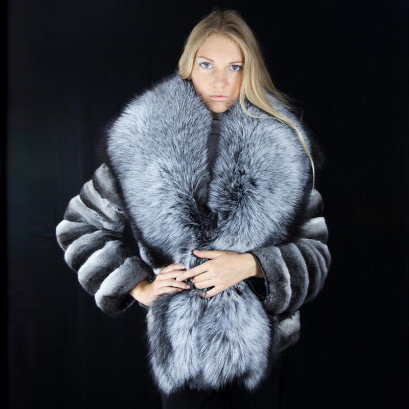 FURSARCAR  Fashion Chinchilla And Natural Rex Rabbit Fur Coat With Big Silver Fox Fur Collar Winter Thick Warm Fur Coat