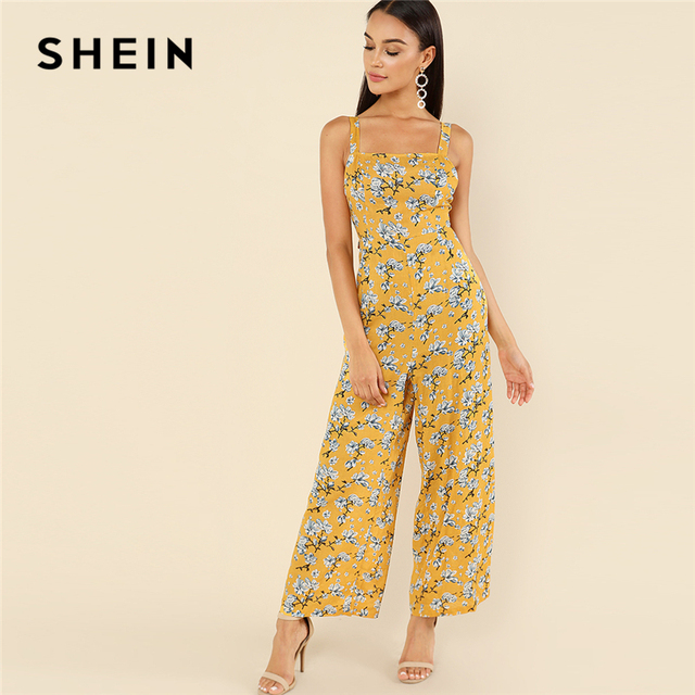 e3eb723224 SHEIN Multicolor Vacation Boho Bohemian Beach Backless Thick Strap Floral  Print High Waist Jumpsuit Summer Women