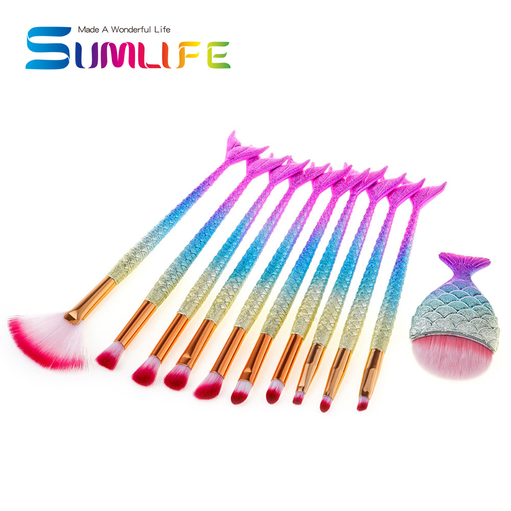 10pcs Mermaid Makeup Brushes Set Eyeshadow Eyeliner Blush Blending Contour Foundation Cosmetic Beauty Makeup Brush + Chubby fish newest mermaid makeup brushes set fantasy eyebrow eyeliner blush blending contour foundation cosmetic beauty make up fish brus