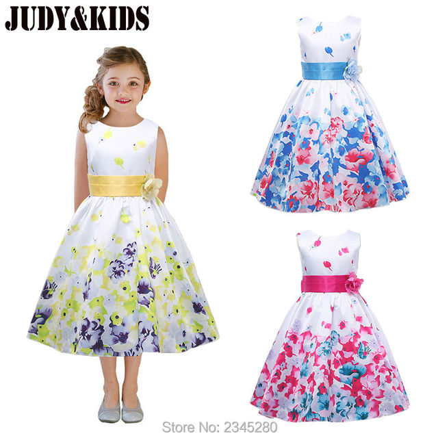 Dresses For Girls Clothes Carnival Costumes For The New Year Girls Fancy  Dress Child Party Flower Print Princess Kids 3-14 Years b99beda193f6