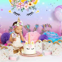 OurWarm Unicorn Party Decoration Cake Topper Gift Bags Pillow Case Invitation Card for Kids Birthday Favor