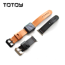 ФОТО totoy handmade men's section for iwatch leather watchbands, 38mm 42mm soft italian calfskin retro for apple watch strap