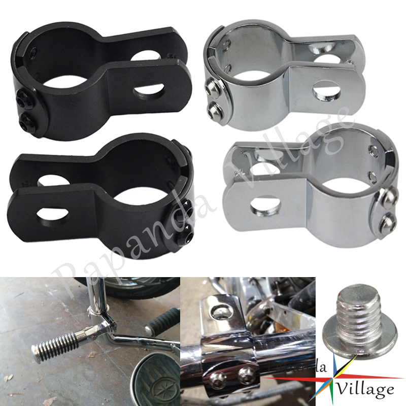 """1-1/8"""" & 1-1/4"""" & 1-1/2"""" Chrome Motorcycle Footpegs Mounting Clamps Engine Guard Crash Bar Footrest Peg Clamps For Harley"""