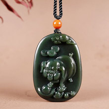 Natural Hetian Jade Hand-Carved Zodiac Pig Necklace Pendant Men And Women Auspicious Jade Sweater Chain Pendant Jewelry Gift Box недорого