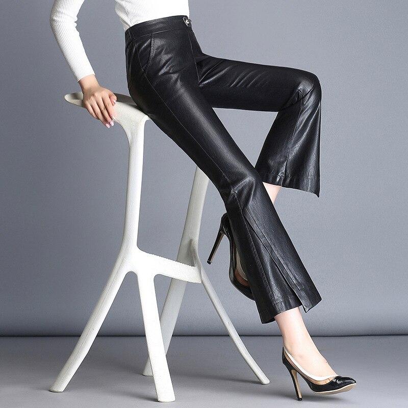 2017 automne et hiver nouveau pantalon en cuir PU femme mince était mince pantalon en cuir plus velours épais micro-La pantalons décontractés tide A806