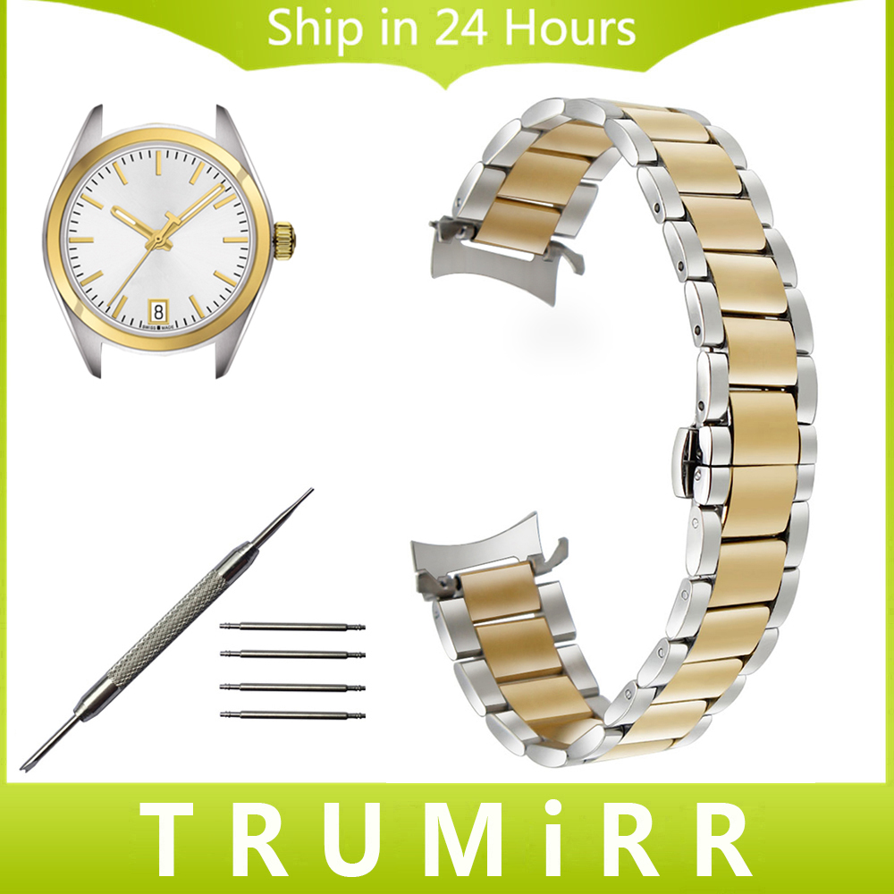 Curved End Stainless Steel Watchband for Tissot Men Women Watch Band Wrist Strap Bracelet Silver Gold 14mm 16mm 18mm 20mm 22mm watchband stainless steel metal watch bands curved end 18mm 20mm 22mm 24mm silver black for common men watches safety buckle new