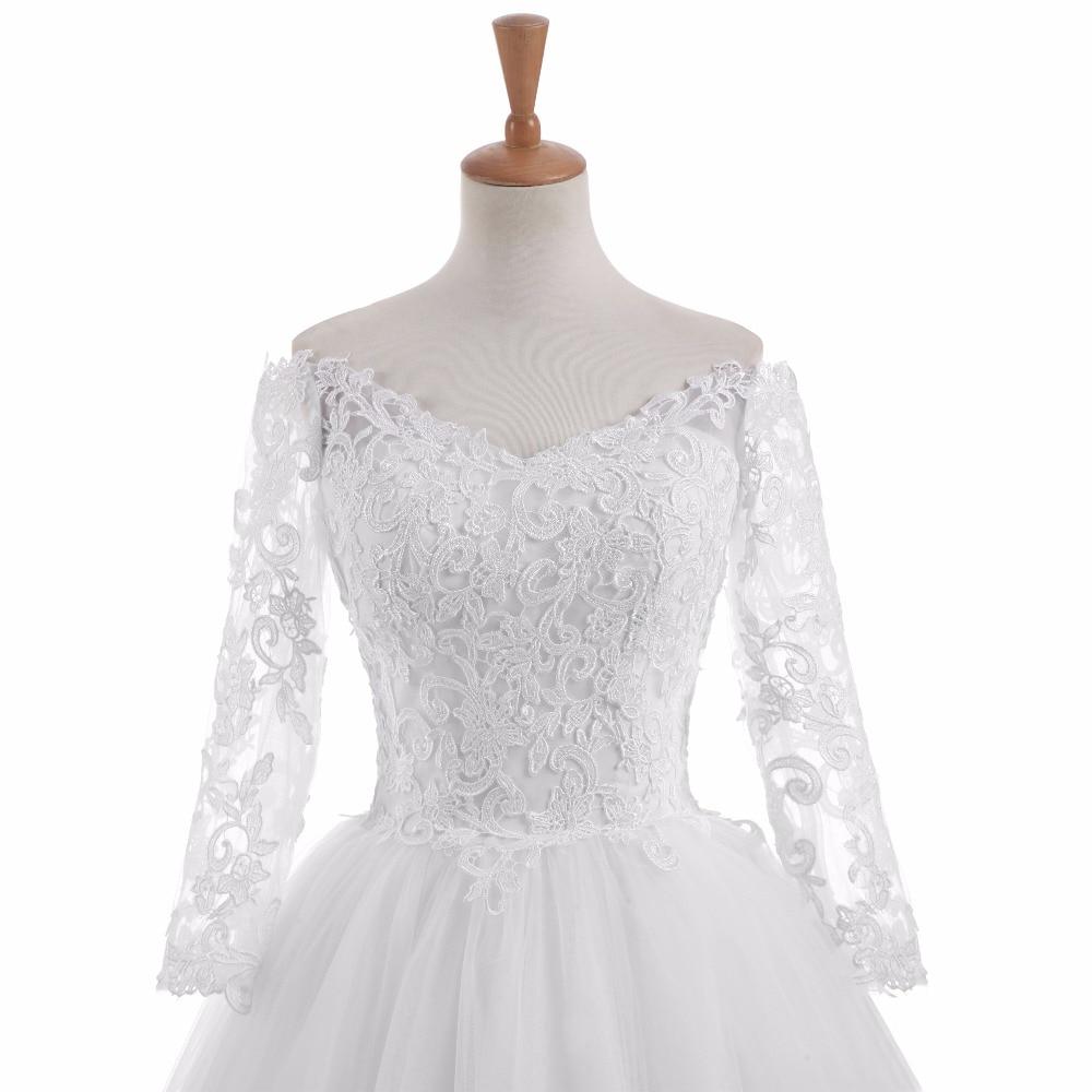 Elegantní Vestido De Novia Vintage bílé plesové šaty svatební - Svatební šaty - Fotografie 5