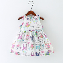 2017 New European and American style children clothing summer print Voile dresses for girls 1-6T little child dresses girls girls dresses 2018 new european and american style spring pattern solid long sleeves blue girl dresses for 4 16 year ds580