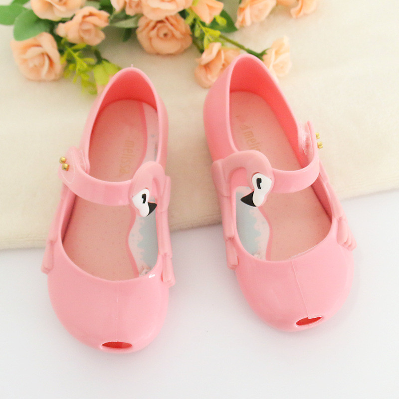 Melissa Cute Flamingos Wings Mini Girls Jelly Sandals 2018 New Princess Shoes Fragrance Melissa Baby Jelly Sandals 13.8-16.8cm