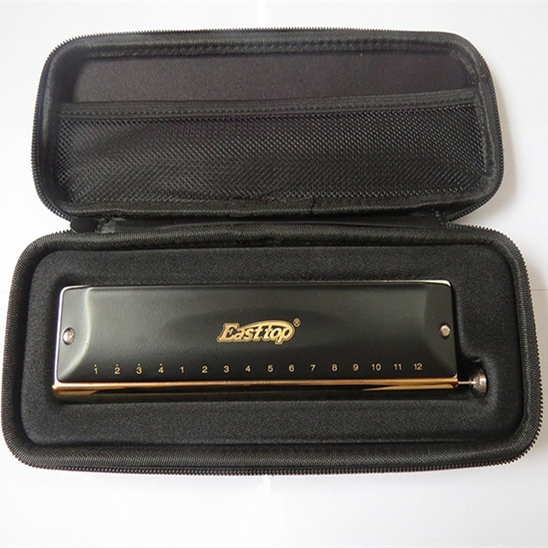 Easttop Brass Harmonica 16 Holes 64 Tunes Chromatic Harmonica brass comb Professional musical instrument luxury mouth organ