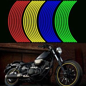 "Image 4 - 16Pcs 17*18"" Strips Motorcycle Car Wheel Tire Stickers Reflective Rim Tape Motorbike Auto Decals Universal Creative Sticker"