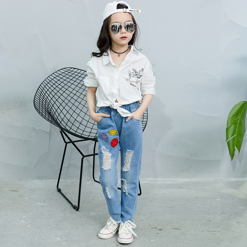 Children Broken Hole Pants Baby Girls Jeans Brand Fashion Spring Kids Denim Trousers Children Clothing Cute