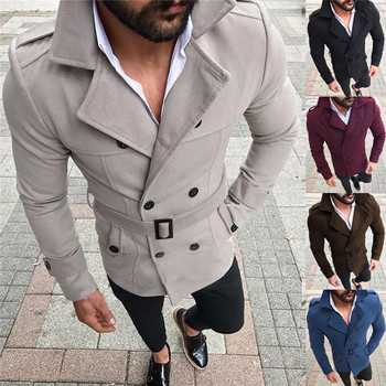 Drop shipping Men's 2018 Winter Wool Warm Turn-down Collar Trench Reefer Jackets Double Breasted Peacoat Overcoat Fit Outwear 1