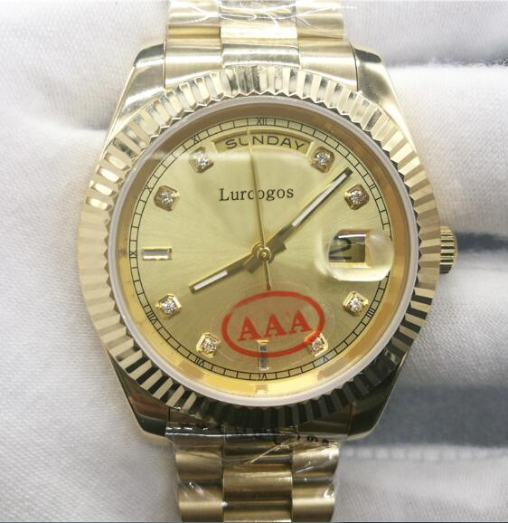 Streng 5 Kleuren Gold Horloge Diamonds Nummer Dag Datum Mechanische Glide Glad 40mm Heren Aaa Kwaliteit Horloges