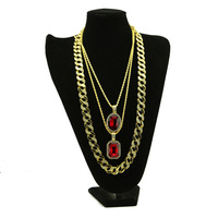 Men's Hip Hop Jewelry 3pcs Red oval square crystal gem Pendant and Iced out Cuban Link chains Necklace For women Hiphop Jewelry