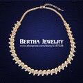 Moda de lujo choker collar para las mujeres con swarovski elementos de cristal austriaco chapado en oro bijuterias colar fine jewelry