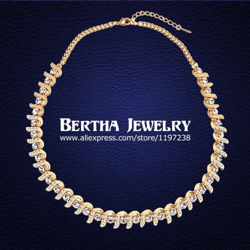 Fashion Luxury Choker Necklace For Women With Swarovski Elements Austrian Crystal Colar Fine Jewelry 18K Gold