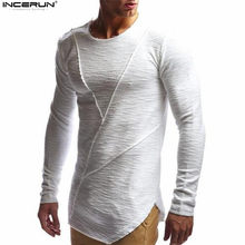 2018 verano otoño nueva camiseta para hombre Crossfit Muscle Tops Color  sólido camiseta hombres moda manga larga Irregular hem c. 08dc21bb501
