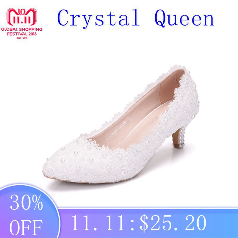Crystal Queen Women Shoes White Lace Wedding Shoes 5CM High Heels Shoes White Lace Sweet Pumps Princess Party Heels crystal queen sandals 14cm high heels women pumps sexy style buckle strap white lace pearl tassel fower wedding shoes summer