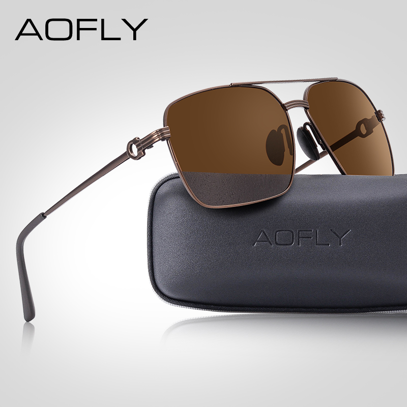 AOFLY Brand Design Classic Polarized Sunglasses For Men Driving Shades Alloy Retro Frame Square Sunglasses Male zonnebril heren-in Men's Sunglasses from Apparel Accessories on AliExpress