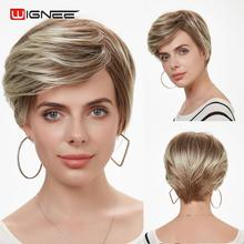 Wignee None Lace Short Layers Mixed Color Grey Synthetic Wigs For Black /White Women Heat Resistant Cosplay Natural Hair Bob Wig wignee short bob hair synthetic wigs ombre sapphire blue color cosplay hair wigs for black women high density heat resistant wig