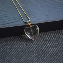 Dandelion Make a Wish Real Flower Heart Glass Pendant Gold Color 925 Sterling Silver Snake Chain Necklace Women Choker Boho