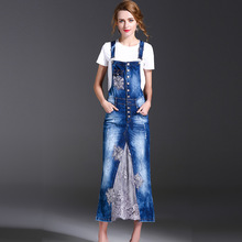 2017 Summer New Women's Hollow Out Floral Embroidery Lace Stitching Denim Dresses Ladies Blue Plus Size Strap Long Jeans Dress