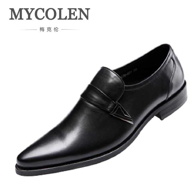 MYCOLEN Fashion Luxury Designer Genuine Leather Mens Dress Shoes Casual Slip-On Business Mens Pointed Toe Dress Shoes