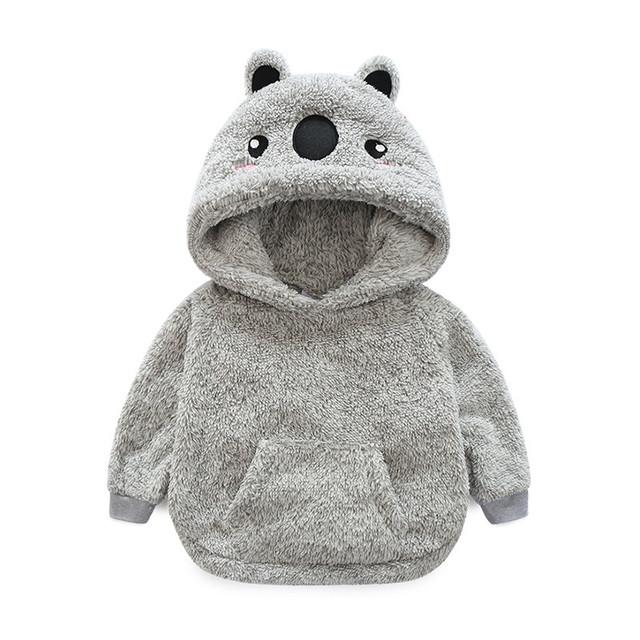 LittleSpring Menino Hoodies Moda 3D Urso Engrosse Com Capuz Pullover Crianças Meninos De Pele Quente Com Capuz Casaco Cinza Meninos Roupas de Inverno