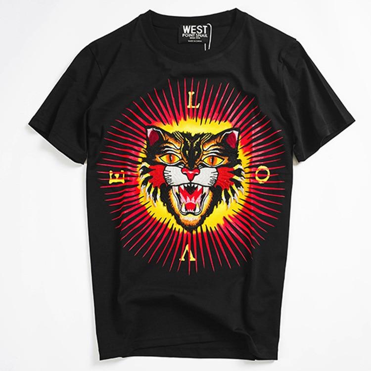 New Novelty Punk 2017 Men Embroidery Leopard T Shirts T Shirt Hip Hop Skateboard Street Cotton
