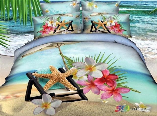 3d Blue Beach Bedding Sets Queen Size Quilt Duvet Cover Bed In A Bag