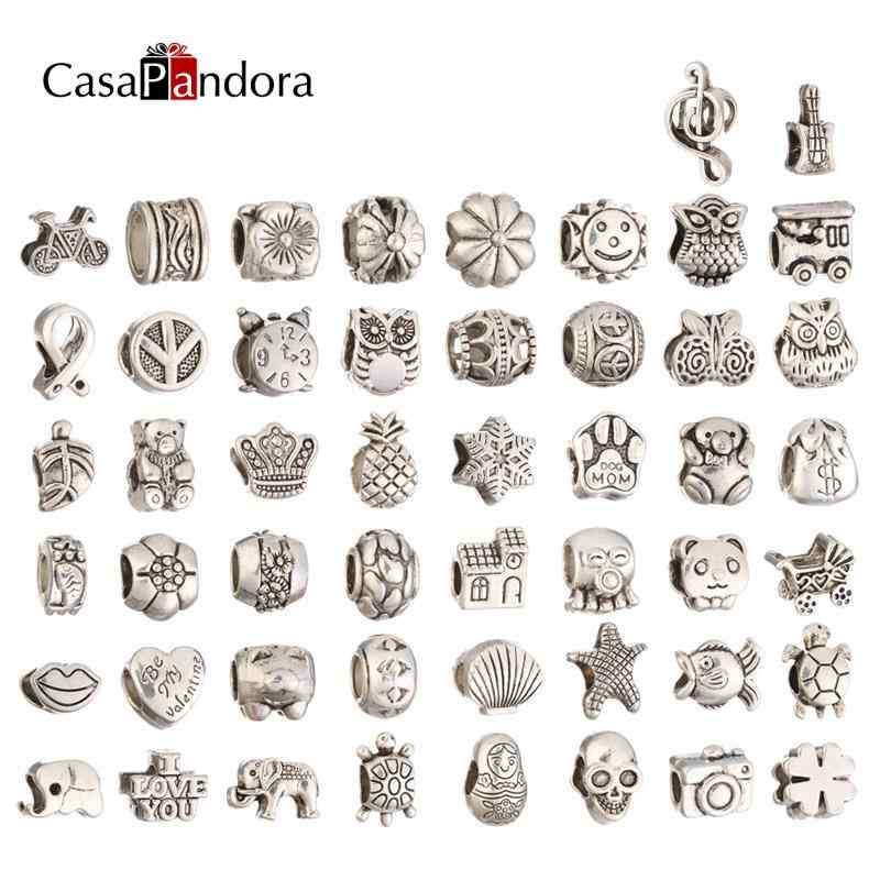 50 Pieces fit beads jewelry bijoux bracciale bisuteria french bead silver perfumes mujer originales bracelet charms