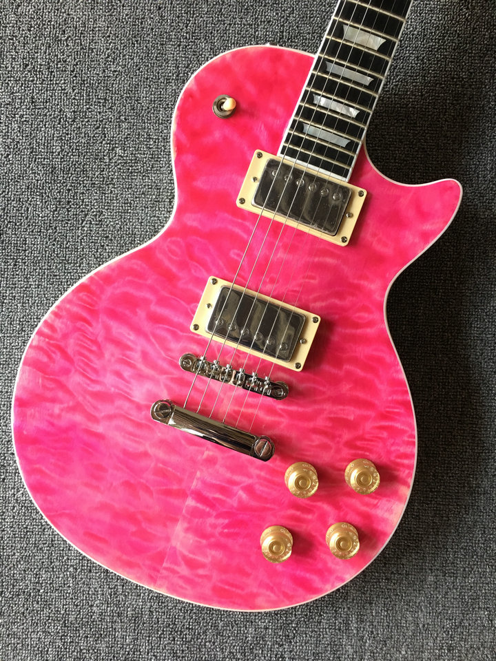 Electric guitar 2018 new guitar pink color/g lp custom electric guitar in china lp guitar with quilted maple top china oem firehawk shop guitar hot selling tl electric guitar stained maple tiger stripes maple wood color page 3
