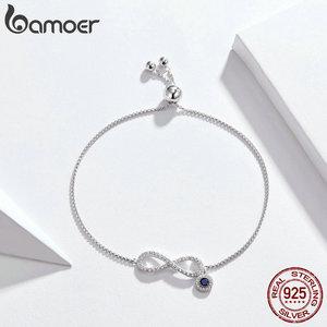 Image 4 - BAMOER Trendy 925 ayar gümüş parlak CZ Infinity bilezikler kadınlar için moda bilezik takı yapımı hediye SCB087