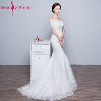 Wedding Dresses Mermaid With Train Elegant Sequined Lace Off The Shoulder Boat Neck Short Sleeves Vestidos