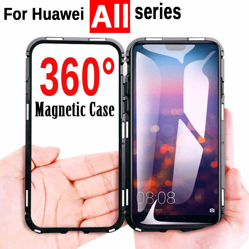 360 Protective Magnetic Adsorption Metal Safety Phone Case For Huawei P20 Mate 20 Lite Pro 20X P10 Plus Nova 3 Honor 8X 10 Play