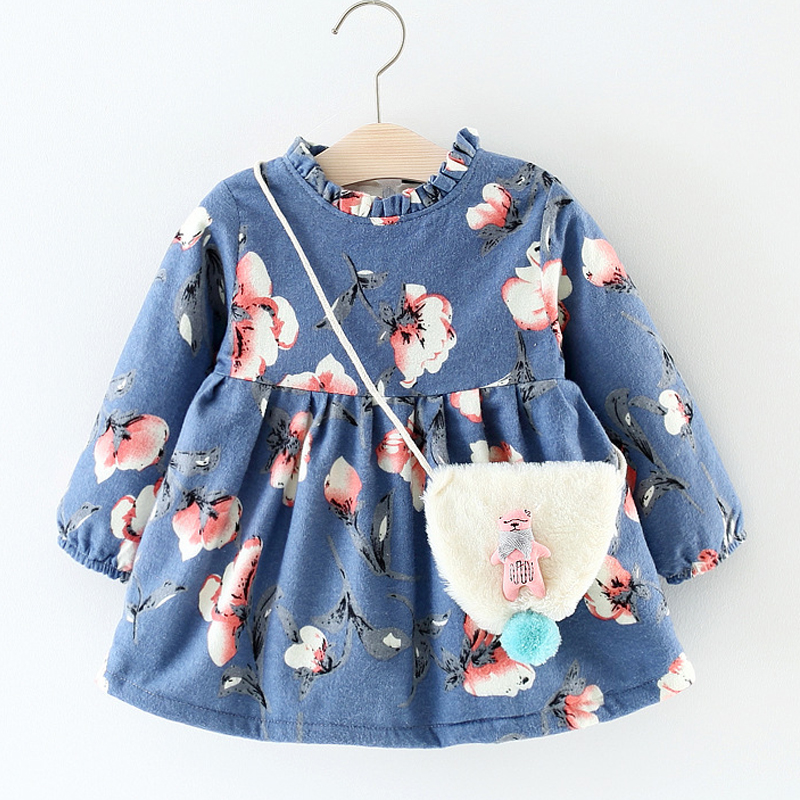 Baby Kids Clothing New Winter Plus Cashmere Baby Dresses Printed Long-sleeved+Cute Cartoon Plush Backpack Girls Clothing