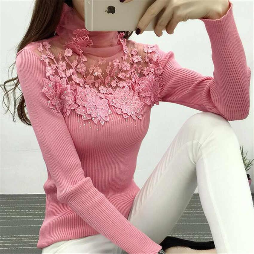 새로운 여성 터틀넥 스웨터 가을 겨울 메쉬 패치 워크 니트 풀오버 꽃 나비 기본 스웨터 여성 탑스 ab700