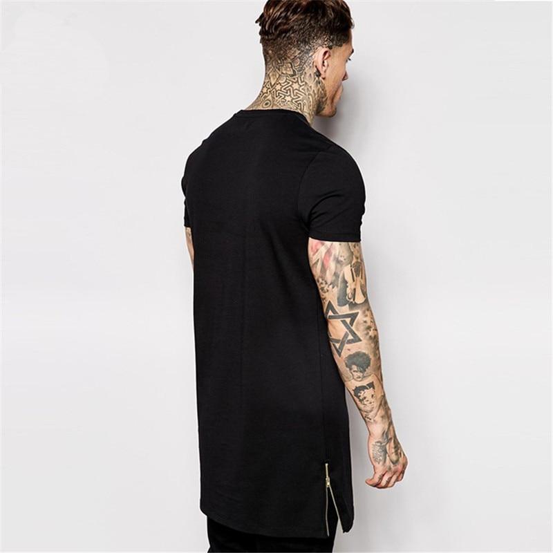 T-shirt bărbați lungime negru negru mens topuri t-shirt tricou - Imbracaminte barbati - Fotografie 2