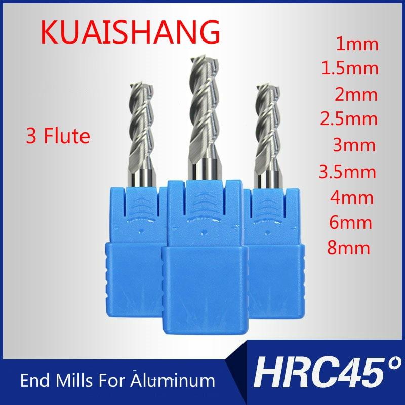 5pcs 3mm HRC45 3 flute Tungsten Carbide End Mill milling cutter CNC for aluminum