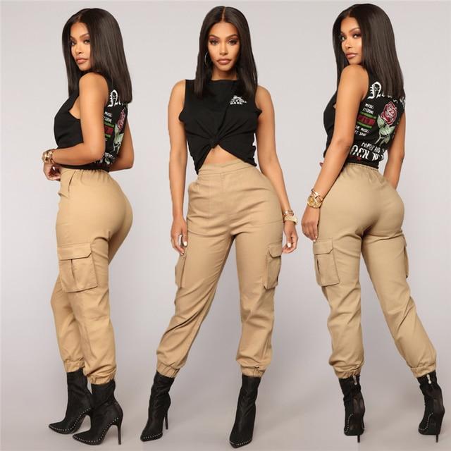91424a7fc7e Streetwear Cargo Pants Women Casual Joggers Black Fashion High Waist Loose  Female Trousers Korean Style Ladies Pants Capri