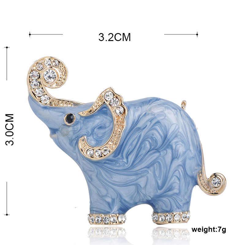 Blucome Baru Biru Yang Indah Tekstur Enamel Gajah Bentuk Bros Kristal Pin Bros untuk Wanita Anak Syal Pakaian Perhiasan