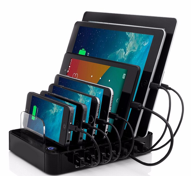 Multi function USB Charging Station black 7-Port 64.89W USB Charger - Mobile Phone Accessories and Parts