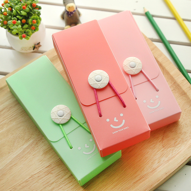high quality creative candy color pencil case smile tower buckle